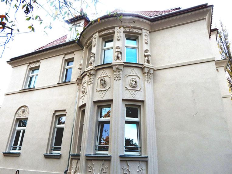 Villa in Tiergartenstraße nach Denkmalsanierung vorher I nachher